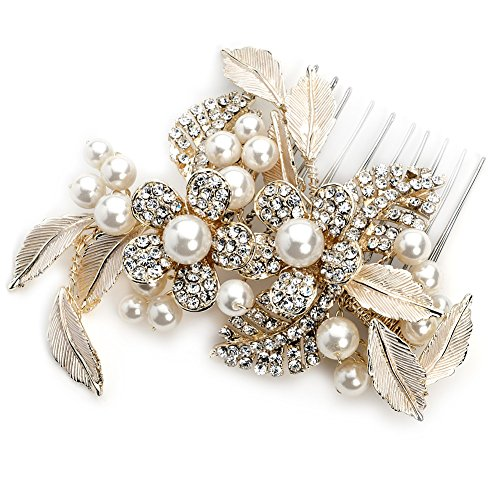 USABride Pretty Gold-Tone Simulated Pearl Flower Comb, Bridal Hair Accessory 2233-G by USABride
