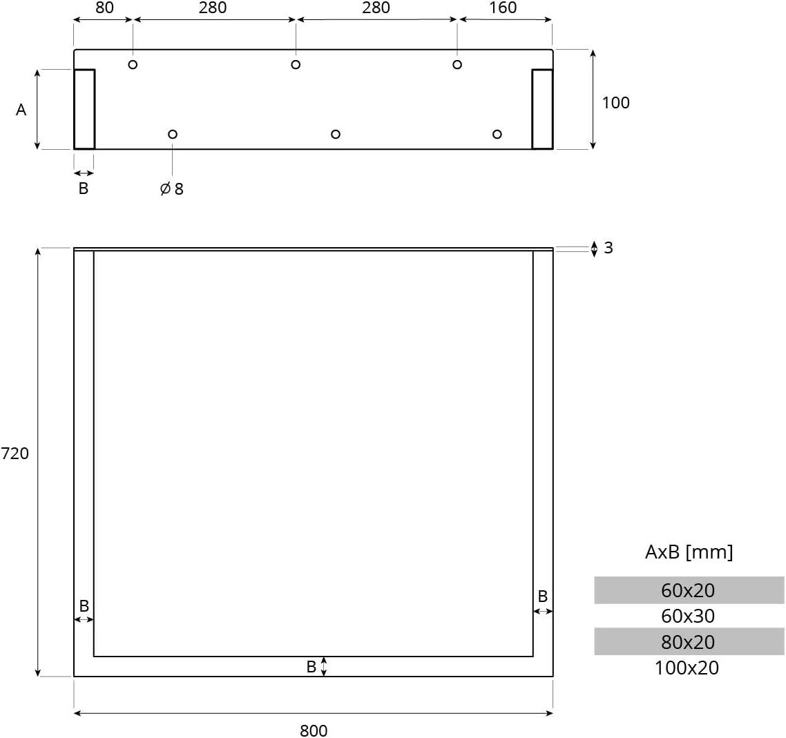 Tiefschwarz 1 St/ück Tischgestell 80x72 cm HOLZBRINK Tischkufen aus Vierkantprofilen 100x20 mm Flacheisen 3 mm HLT-02-A-FF-9005