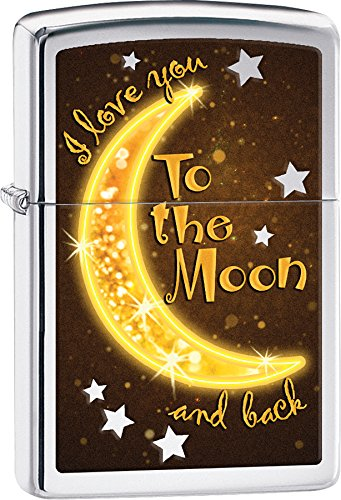 Personalized Message Engraved Customized Gift For Him For Her Golden Moon I Love You To The Moon And Back Zippo Indoor Outdoor Windproof Lighter
