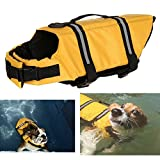 how to build a cage - Machao Dog Life Jacket Adjustable Puppy Lifesaver Safety Doggy Safety Clothes Collar Harness Pet Life Saver Preserver Clothing With Handle Adjustable Belt For Rescue Yellow Large