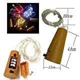 Bottle Lights Battery Powered, 20 LED 200cm (79 Inch)Wine Cork Shaped Starry String Lights - Fairy Lights for Bottle DIY, Party, Decor, Christmas, Wedding, Dancing, Halloween Party (12, Cold white)
