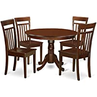 East West Furniture HLCA5-MAH-W 5 Piece Hartland Set, Mahogany