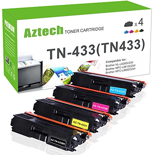 Aztech TN-433 High Yield Toner Cartridge Compatible Brother HL-L8360CDWT HL-L8360CDW HL-L8260CDW MFCL8900CDW MFCL8610CDW MFCL9570CDW MFC-L8900CDW MFC-L8610CDW Color Laser All-in-One TN433 TN-431