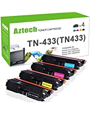 $43 » Aztech Compatible Toner Cartridge Replacement for Brother TN433 TN-433 TN 433 TN433BK TN433C TN433M TN433Y (Black/Cyan/Yellow/Magenta, 4-Packs)
