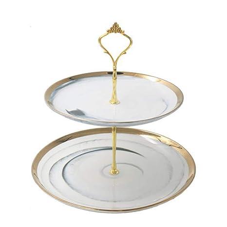 Superb Amazon Com 2 Tier Ceramic Fruit Plate Round White Cake Home Interior And Landscaping Ologienasavecom