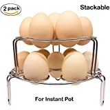 Steamer Rack for Instant Pot,Stackable Egg Vegetable Pressure Cooker Steam Rack, Stainless Steel Food Basket Stand, 2Pcs