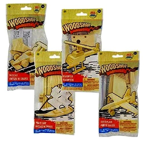 Build and Play Wooden Vehicle Kits, Pirate Ship, Fighter Plane, Racecar and Helicopter, 4-pk -