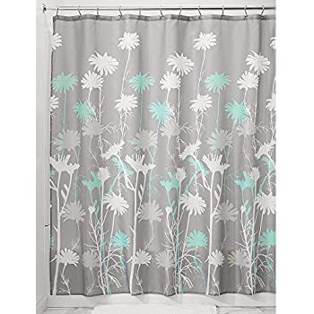 InterDesign Daizy Shower Curtain, Gray And Mint, 72 X 72 Inch
