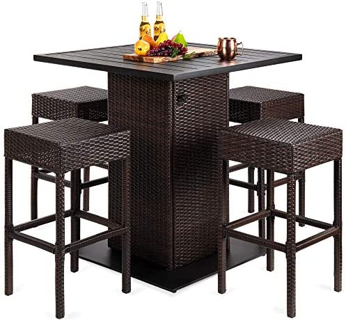 Choice Products 5-Piece Outdoor Wicker Bar Table Set
