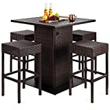 Best Choice Products 5-Piece Outdoor Wicker Bar