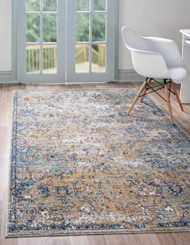 Unique Loom Augustus Collection Boho Traditional Vintage Light Blue Area Rug 9' 0 x 12' 0