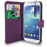 Dark Purple Leather Wallet Flip Case Cover Pouch For Samsung Galaxy S4 I9500 + Free Screen Protector & Mini Touch Stylus Pen - Dark Purple