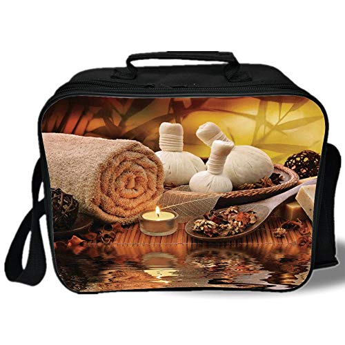 Candlelight Gems - Spa Decor 3D Print Insulated Lunch Bag,Outdoor Spa Massage Setting at Sunset with Candlelight Reflections Culture,for Work/School/Picnic,