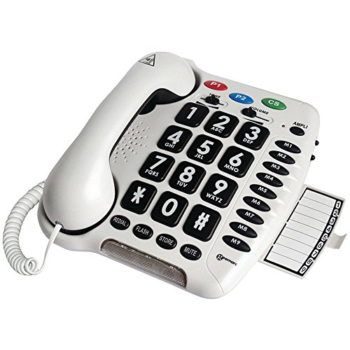 Geemarc Amplified Big Button Telephone with Adjustable Tone Control - AmpliCL100 - Telephone Ringer Amplified