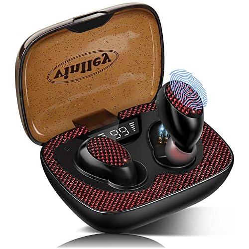 chollos oferta descuentos barato Auriculares Bluetooth 5 0 Cascos Inalámbricos Impermeable TWS HiFi Estéreo In Ear Antirruido Autonomía 60H Control Táctil con Micrófonos con Caja de Carga para Smartphones Rosa