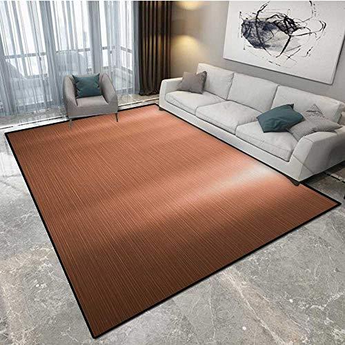 Anhounine Copper Carpet Cleaner Powder Brushed Copper Plate Facade Illustration Tough Industrial Element Modern Art Carpet Protector 6'x7' (W180cm x L210cm Peach Chocolate