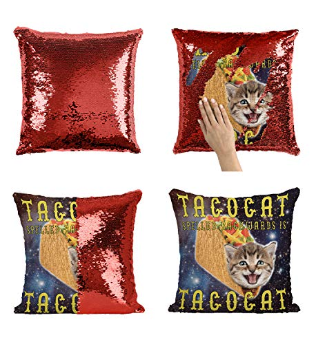 Tacos Cat Tacocat_P254 Sequin Pillow, Funny Pillow, Sequin Reversible Pillow, Throw Pillow Cover, Décor, Gift for Him Her, Birthday Christmas Halloween, Present (Pillow Cover + Insert)