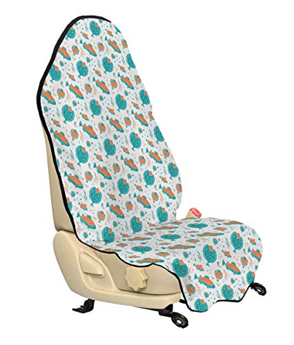 Ambesonne Underwater Car Seat Cover, Flounder and Trout Naive Lino Style Algae Underwater Marine Ocean Sea Pattern, Car and Truck Seat Cover Protector with Nonslip Backing Universal Fit, Green Orange