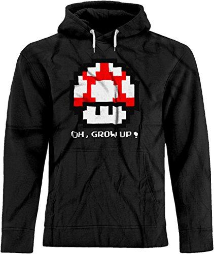 BSW Unisex Oh, Grow up! Super Mario Bros Super Mushroom 8-bit Hoodie XL (Mens Super Mario Luigi Hoodie)