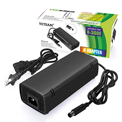 Xbox 360 E Power Supply Compatible with Xbox 360E Power Adapter, Power Supply Cord AC Adapter Replacement Charger for Xbox 360 E, 100-240V Auto Voltage