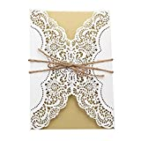 Invitation Cards with Envelopes Laser Cut Flora Lace for wedding invitations, Bridal Shower, Engagement, Birthday, Bachelorette Party, Baby Shower(10 PCS) (10 piece, White-Hemp Rope Seals)