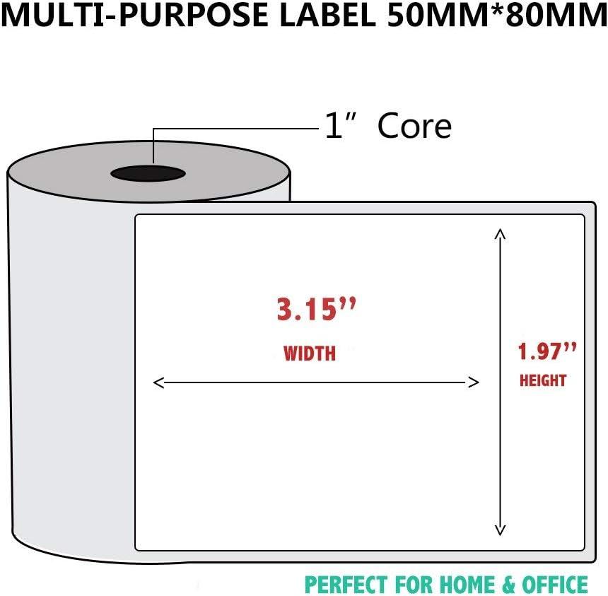 50x50mm 5 rotoli//lotto di carta termica per stampante termica codice a barre adesivo//etichetta//tipo termico adiensivo Multi-Purpose Label 5 Rolls