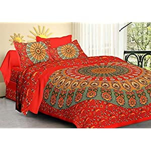 Miyanbazaz Textiles Traditional Jaipuri Multicolour Double Bedsheet Cotton with 2 Pillow Cover (Red Mandala, 220 X 240…