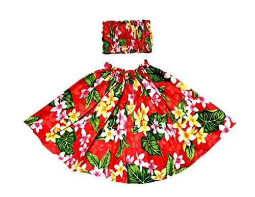 Hawaiian Style Plumeria Keiki(Kids) Pa'u Hula Skirt Set (S, Red) -