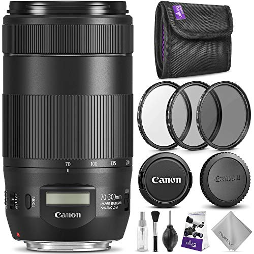 Canon EF 70-300mm f/4-5.6 is II USM Lens w/Essential Photo Bundle - Includes: Altura Photo UV-CPL-ND4, Camera Cleaning Set (Best Full Frame Dslr For Sports Photography)