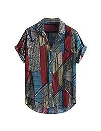 Minikoad_Men Coat Men Fashion Short Sleeve Shirt Tops, Male Color Patchwork Printed Tunic Tops