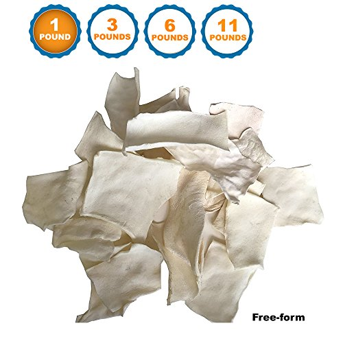 - 123 Treats - Rawhide Chips Dog Treats Free-Form for Dogs   Quality Bulk Beef Hide Dog Chews - No Additives, Chemicals or Hormones from Natural Grass Fed Livestock (1 LB - Free-Form)