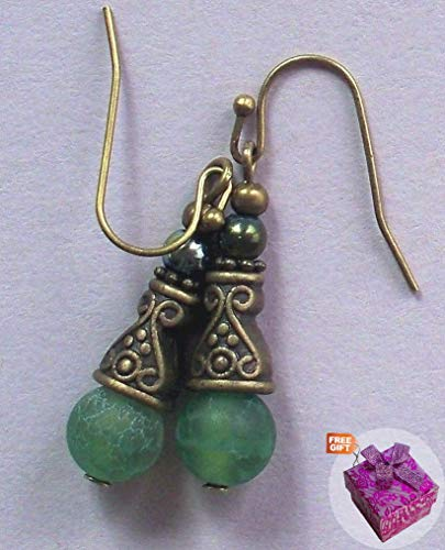 Green Crabfire Agate Bali Style Earring Bronze French Hook Artisan Earrings For Women Set + Gift Box For Free