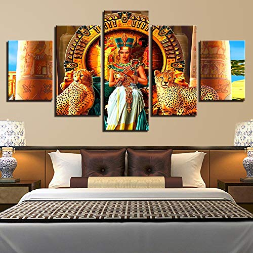 SHAH Mural Decorative Painting Egyptian Queen Living Room Poster Canvas Print Wall Art Picture 5 Pieces with Frame 150cmX80cm (5 Piece Queen Poster)