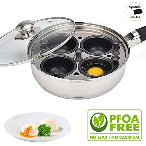 Egg Poacher Pan - Stainless Steel Poached Egg Cooker - Perfect Poached Egg Maker - Induction Cooktop Egg Poachers Cookware Set with 4 Nonstick Large Silicone Egg Poacher Cups and Spatula