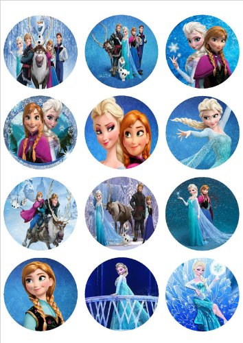 Amazoncom Edible Cupcake Toppers Elsa and Anna Kitchen Dining