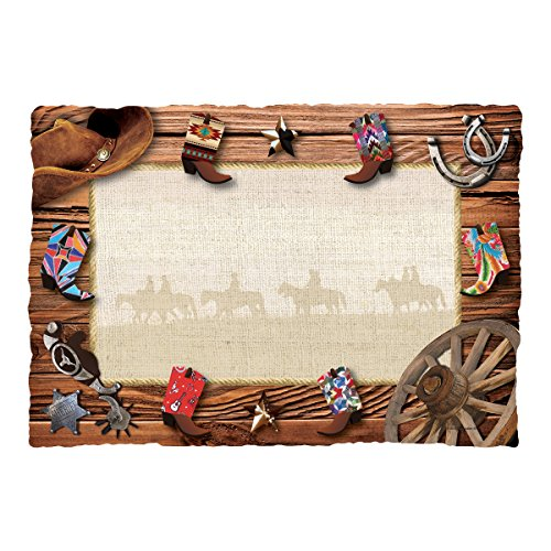 Hoffmaster 311137 Cowboy Boots Placemat, 9.75'' Length x 14'' Width (Pack of 1000) by Hoffmaster