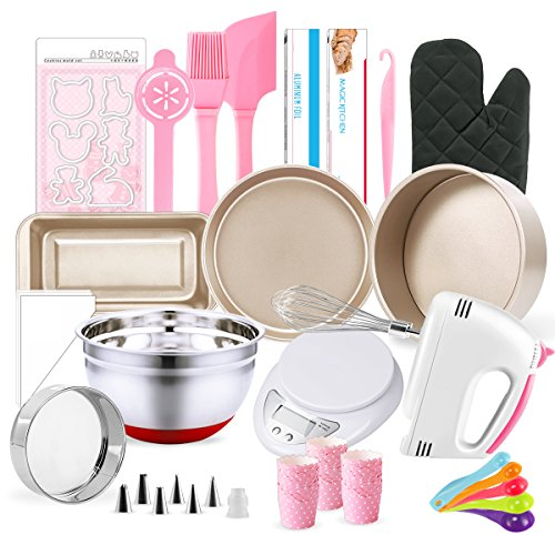 MCK Complete Cake Baking Set Bakery Tools for Beginner Adults - 21 PCS of Baking Equipment by Hotterpower