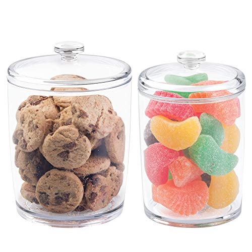 mDesign Plastic Kitchen Countertop, Pantry Food Canister Jar with Lid - Holds Candy, Gum Balls, Cookies, Chocolate Chips, Rice, Flour, Brown Sugar, Baking Supplies - Set of 2, Varied Sizes - Clear ()