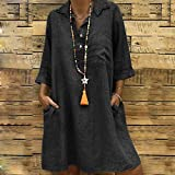 Todaies Women s Solid Dress, Boho Turn-Down Collar Casual Pocket Button Dress (XL, Black)