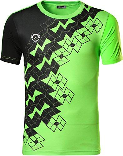 Jeansian Men's Sport Quick Dry Short Sleeve T-Shirt LSL111 Green L (3d Green T-shirt)