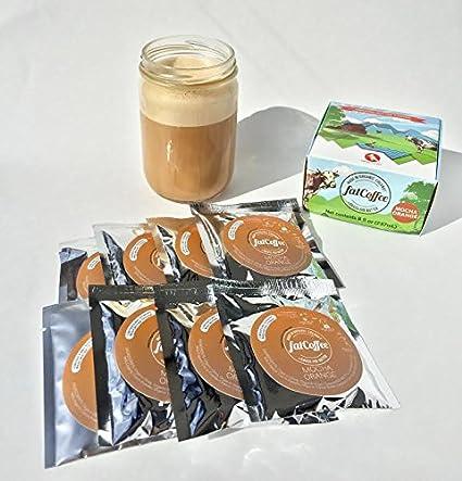 fatCoffee 100% de hierba alimentada Ghee para alimentar su Keto y Paleo café o té, 8 paquetes - Naranja de Chocolate: Amazon.es: Alimentación y bebidas
