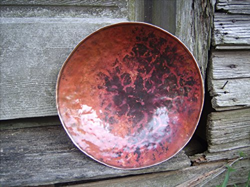 Large Copper Bowl Hand Forged Copper Bowl Blacksmith Made Hammered Bowl Round Vessel Serving Bowl Kitchen Decor 7th Anniversary Gift for Men* Round Forge Colored Copper Bowl, Marbled Texture by Christ Centered Ironworks (Image #1)