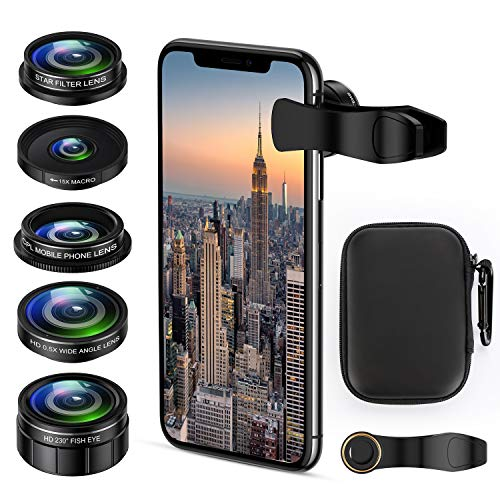 Cell Phone Camera Lens Kit, 5 in 1 iPhone Photography Lens Kit Smartphone Video Lens for iPhone, Android - 0.5X Wide Angle Lens+15x Macro Lenses +230° Fisheye Lens +CPL +Star Filter Lens