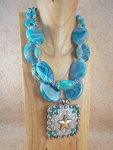 Chunky Western Cowgirl Necklace Set - Turquoise Agate - Star Concho Pendant ()