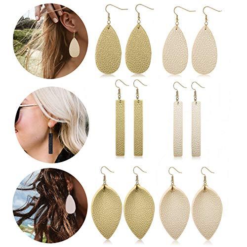 Leather Dangle (Adramata Dangle Leather Earrings for Women Teardrop Leaf Earrings statement jewelry)