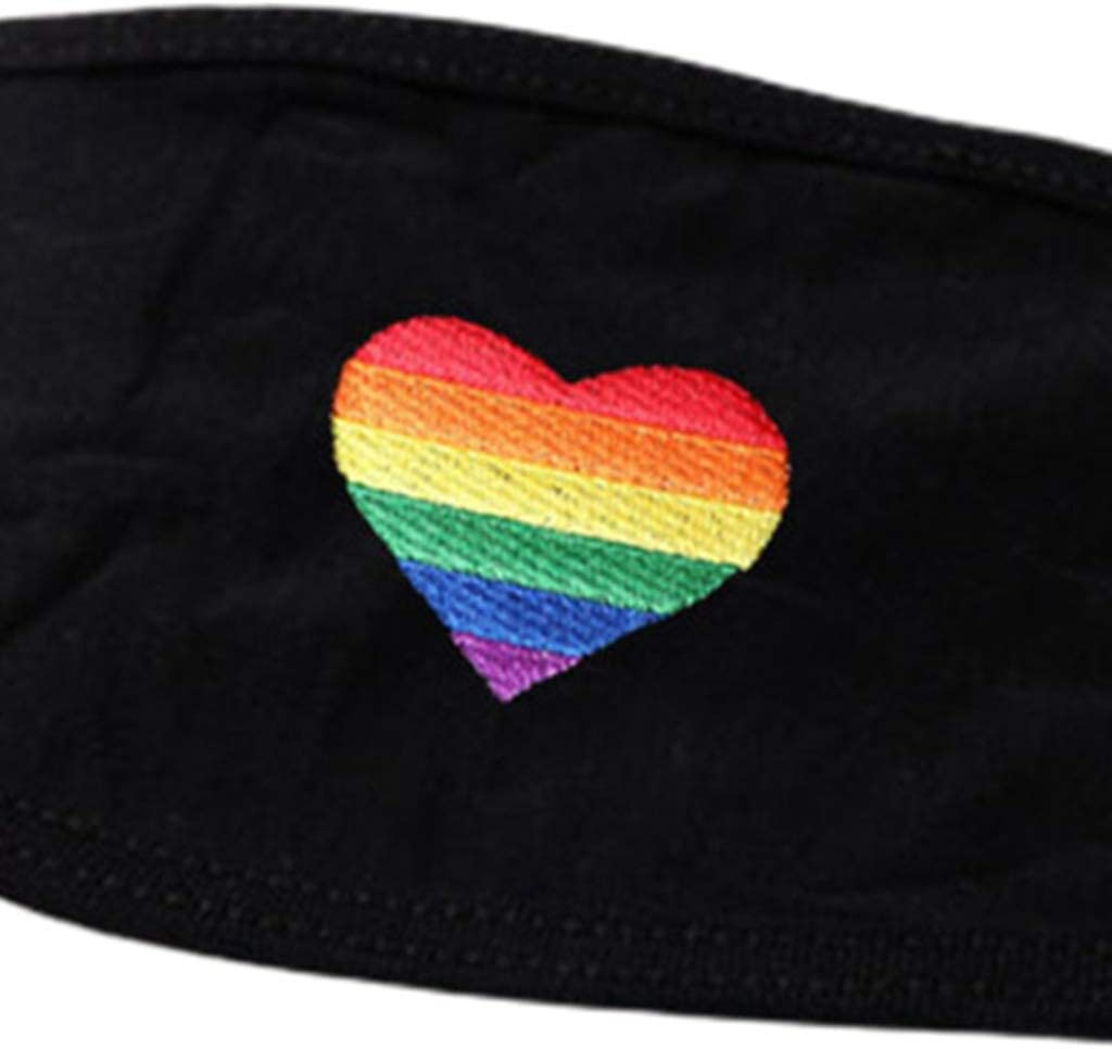 Black Face Protection Cover You Need to Calm Down Rainbow Stripes Heart Printed Gay Pride Kou Zhao