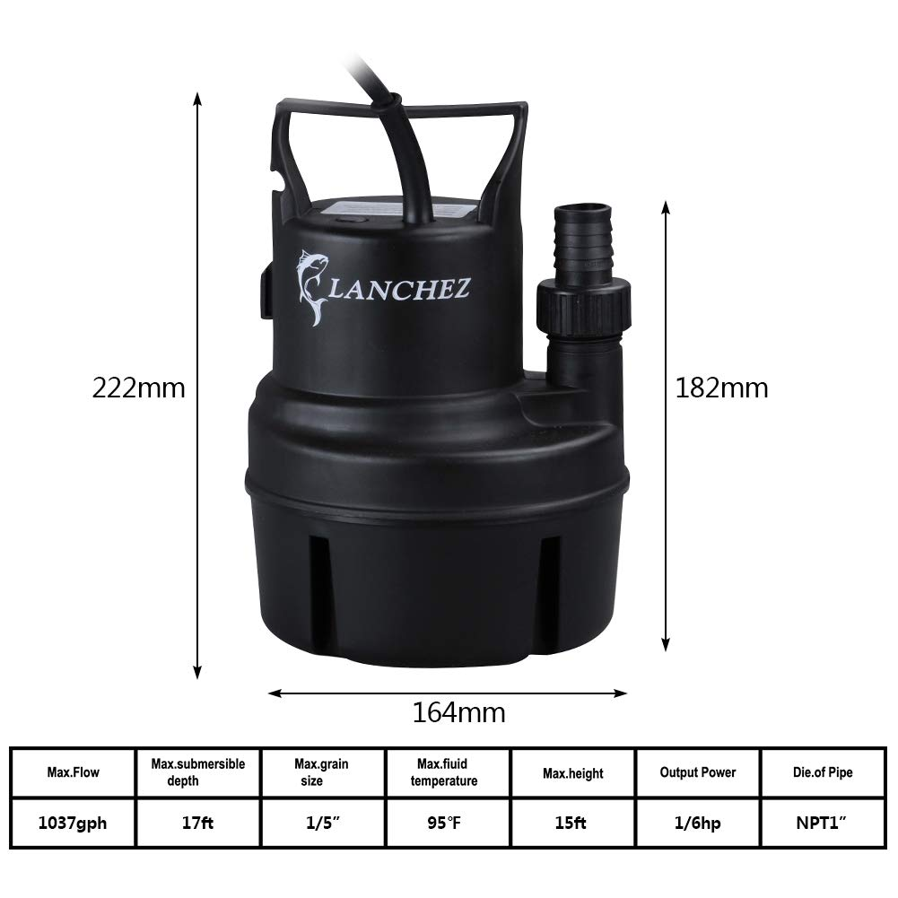 Lanchez Q2007 1/6 HP Submersible Utility Pump Multi-Purpose Electric Water Transfer Pump with 25ft Power Cord for Clean Water by LANCHEZ (Image #6)