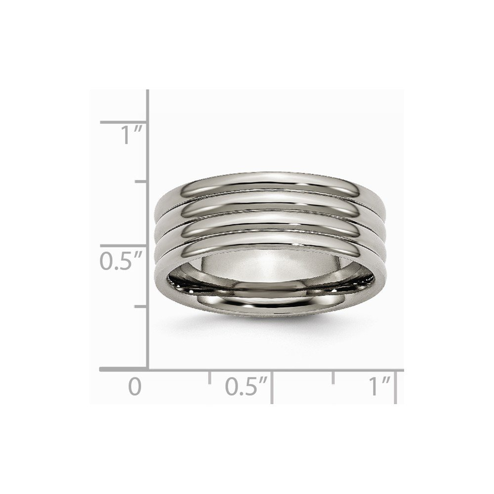 Jewelry Stores Network Mens 8mm Polished Titanium Grooved Wedding Band Ring