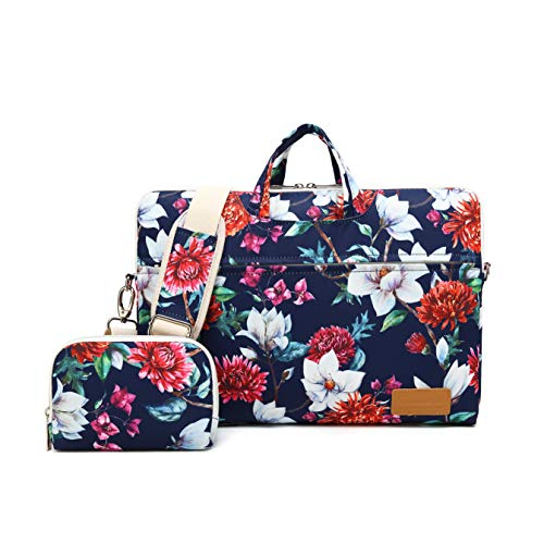 Canvaslife Carnations Pattern 15 inch Waterproof Laptop Shoulder Messenger Bag for 14 Inch to15.6 inch Laptop and MacBook Pro 15 Laptop Case