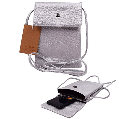 Women Cute Mini Crossbody Bag / Cellphone Purse / Shoulder Bag / Cellphone Pouch, WITERY Soft Leather 4 Bags Small Wallet Purse with Adjustable Shoulder Strap Silver